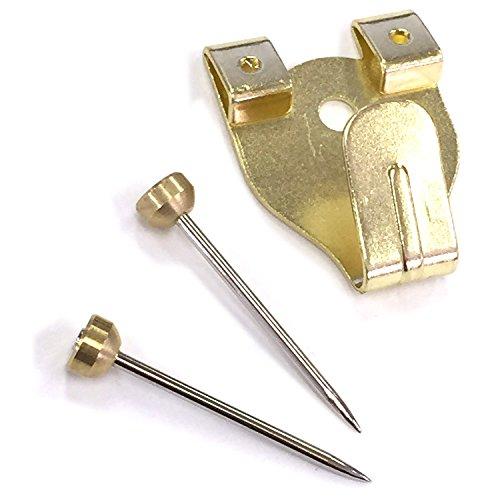 額縁展示用吊り金具 Xフック 5個セット 中 二つ針 金色