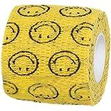 AWHAO ペットフレックス 多機能 粘着包帯 ガーゼテープ 自着性伸縮包帯  ペット用 可愛い 5cm*4.5m (スマイル)
