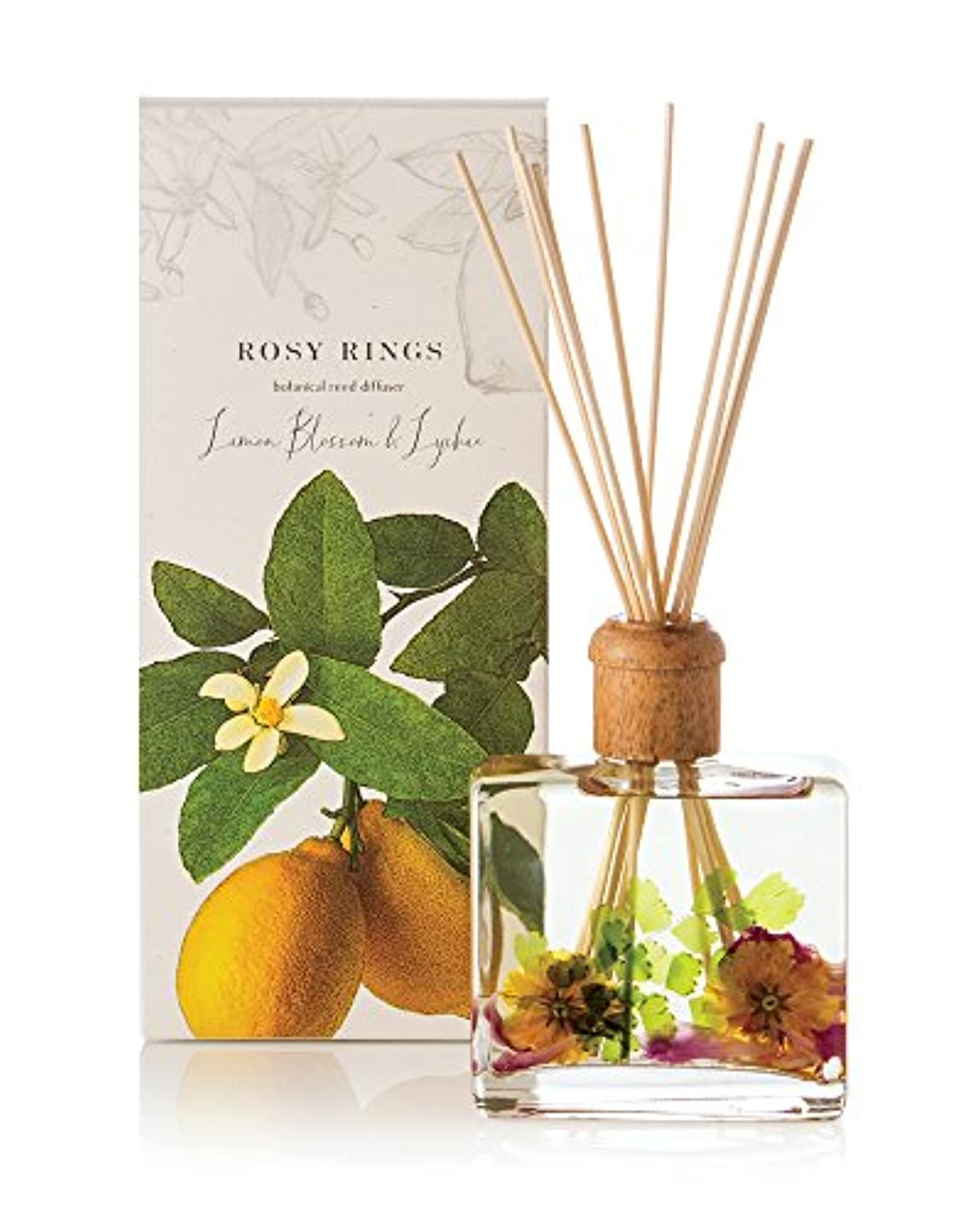またはどちらかゼリー安定したロージーリングス ボタニカルリードディフューザー レモンブロッサム&ライチ ROSY RINGS Signature Collection Botanical Reed Diffuser – Lemon Blossom...