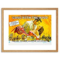 Movie Film Gone With Wind Leigh Gable Classic Framed Wall Art Print