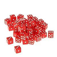 Dovewill 約50個入り 六面 サイコロ パーティー用品 アクリル製 ゲーム ダイス 12mm 贈り物 6色選べる - レッド