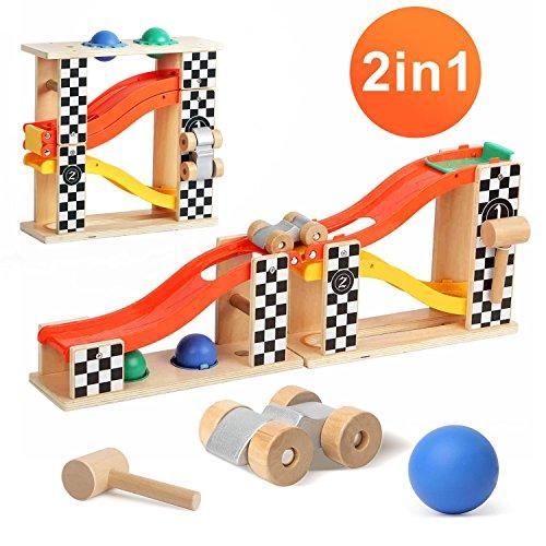 Kingstar くるくるスロープ ノックアウト 木製 スロープ おもちゃ ボール くるくる おもちゃ 木のおもちゃ ...