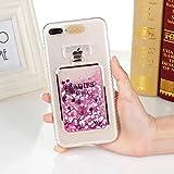 iPhone7/8 Plusケース カバー Huashine 可愛い 香水瓶 香水ボトル 着信 で 光る 多彩な流砂 スパンコール キラキラ パフューム 動く グリッター アイフォンケース 携帯ケース (iPhone 7/8 Plus, ピンク)