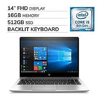 HP EliteBook 840 G5 2019 Premium 14'' FHD Laptop Notebook Computer, 4-Core Intel i5-8250U 1.6 GHz, 16GB RAM, 512GB SSD, Backlit Keyboard, No DVD, Wi-Fi, Bluetooth, Webcam, HDMI, Windows 10 Pro
