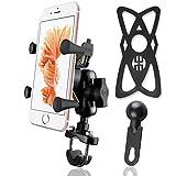 MOCOFI 自転車ホルダー バイク スマホ ホルダー 携帯 バイク スタンド GPSナビ・スマホ・iPhone固定用マウントキット USB充電ポート 360度調整可能 落下防止 多機種対応