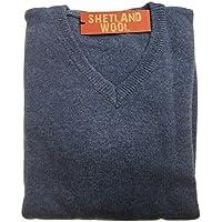 jacksmith Men's Shetland Wool V-Neck Cardigan Sweater Knitted Jumper Pullover (3XL, Sky)