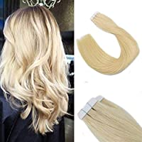 Blonde Color #613 Tape in Remy Hair Extension Human Hair Tape in Extensions Brazilian Straight Hair 50 Grams 20 Pieces Per Package for Women(14/16/18/20/22) [並行輸入品]