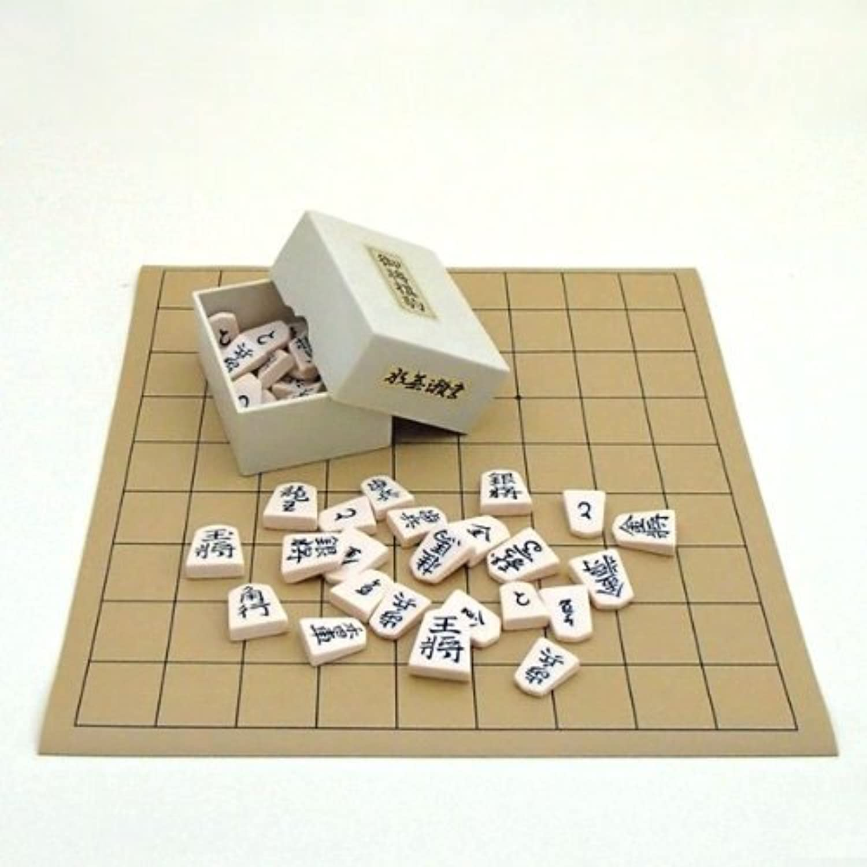 将棋セット 塩ビ将棋盤とプラスチック製駒水無瀬書のセット