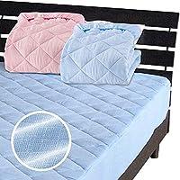 一体型 ベッドパッド ボックスシーツ を一体にした新商品 メーカー直販 新型 綿 二重ガーゼ ボックスシーツ ダブル 140×200×30cm ブルー
