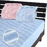 一体型 ベッドパッド ボックスシーツ を一体にした新商品 メーカー直販 新型 綿 二重ガーゼ ボックスシーツ シングル 100×200×30cm ブルー