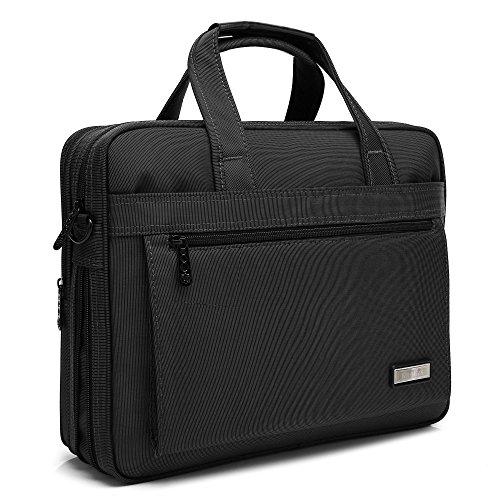 クロース(Kroeus)ビジネスバッグ 2way マチ拡張 手提げ ショルダーベルト付き メンズ レディース A4サイズ 14インチ型PC対応 ナイロン生地 出張 通勤 ブラック