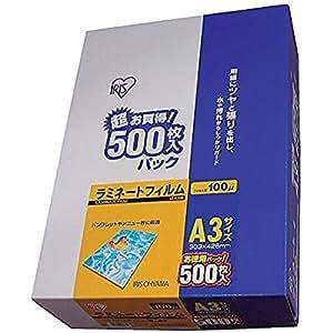 アイリスオーヤマ ラミネートフィルム 100μm A3 サイズ 500枚 LZ-A3500