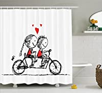 Bicycle Decor Shower Curtain by Ambesonne, Children Love Couple Cycling Together Soul Mates Characters Valentines Sketch Print, Polyester Fabric Bathroom Set with Hooks, 69W X 70L, Black White Scarlet [並行輸入品]