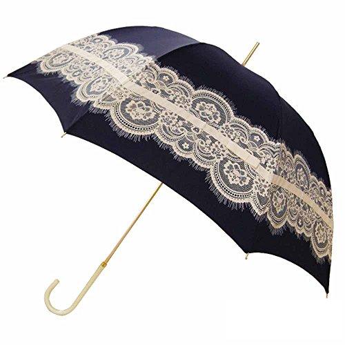 pink trick rain(ピンクトリックレイン) レディース 晴雨兼用 かわいい レース&リボン 58cm 手開き傘 (ネイビー)