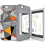 iPhone6Splus ケース 《SKINU》カード収納可能・衝撃吸収抜群・傷防止・ミラー付き・スタンド機能・ICカード/クレジットカード完璧収納(三角パターン)