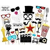 Hollywood パーティー写真ブース小道具キット - ハリウッド/オスカー/映画ナイトパーティー用品 装飾 33個パック