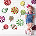 Outus 30 Pieces Peppermint Floor Decals Stickers Colorful Candies Round Lollipop Floor Decals Stickers for Christmas Decorati