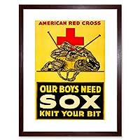 War WWI Red Cross Charity Advert Knitted Sox Socks Framed Wall Art Print 戦争クロスチャリティー広告壁