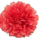 SUNBEAUTY 「4個入」 25cm ペーパーポンポンフラワー  手作り バースデー 誕生日 結婚式 飾り付け (コーラル)