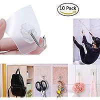 10個入り/ロット6 x 6 cm防水StickyフックTranspartent壁ハンガー再利用可能な強力な粘着for Hangingキーバスルームキッチン