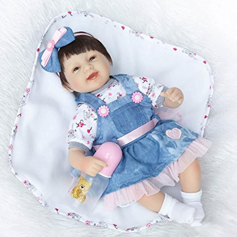 NPKDOLLシミュレーションRebornベビー人形ソフトSiliconeビニール18インチ45 cm Lifelike Vivid Toy Boy Girl rd45 C040s Eyes Open