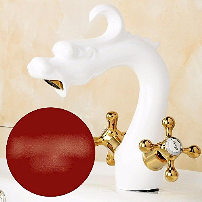 awxjxシンクタップヨーロピアンスタイル銅Seatedホットとコールドダブルハンドル1つ穴拡張Wash Your Facepots Ceramics Golden