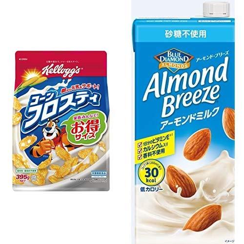 【セット買い】ケロッグ コーンフロスティ 徳用袋 395g×6袋 + アーモンド・ブリーズ 砂糖不使用 1L×6本