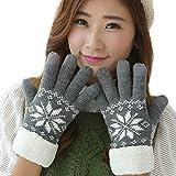MIOIM 5本指 グローブ 手袋 プリント柄 裏起毛 冷え対策 保温 あったか 上品 スマホ対応 毛糸 アウトドア