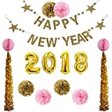 Ipalmay 2018 New Year Eve Gold Theme Decorations Set, Glitter Banner 32 Inch Balloon Paper Tissue Decor [並行輸入品]