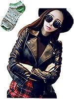 スプリング ライダース ジャケット 高品質PU ジャケット ジッパー ワイルド クール ブルゾン セレブ 靴下付のセット商品