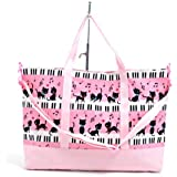 おしゃれKidsのマチ付きレッスンバッグ ピアノの上で踊る黒猫ワルツ(ピンク) 日本製 N0900100