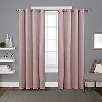 Exclusive Home Curtains ATIホーム 厚手のベルベット素材ハトメカーテンパネル2枚 Blush Pink EH8194-07 2-84G