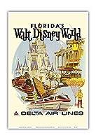 ウォルトディズニーワールドフロリダ - 初年度 操作 - デルタ航空 - ビンテージな航空会社のポスター によって作成された ダニエル・C・スウィーニー c.1971 - アートポスター - 33cm x 48cm