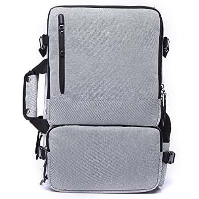 MINIBA リュックサック 3way仕様 トートバッグ ショルダーバッグ 柔らかいナイロン 布製 17インチPC収納可 メンズ ビジネスバッグ パソコン鞄 通学通勤 旅行出張 (グレー)