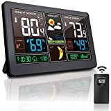 Greenke Weather Stations Wireless Indoor Outdoor Thermometer Color Large Digital Wall Alarm Clock Accurate Temperature and Hu