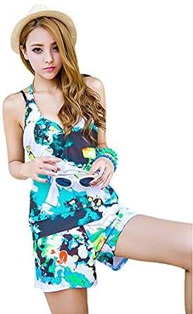 Viinin 2色選べる レディース 水着 セパレート タンキニバスト ワイヤービキニ 体型カバー ショーパン4点セット 花柄