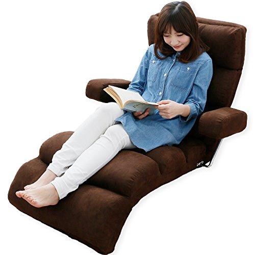 LOWYA (ロウヤ) 座椅子 肘掛け付き 長座椅子 14段階 リクライニング 3点可動 ミニクッション付き おしゃれ マイクロスウェード ブラウン 新生活