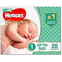 Huggies Ultimate Nappies, Unisex, Size 1 Newborn (Up To 5kg) 28 Count