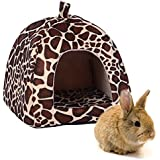 "FLAdorepet Rabbit Guinea Pig Hamster House Bed Cute Small Animal Pet Winter Warm Squirrel Hedgehog Chinchilla House Cage Nest Hamster Accessories (9"" 9"" 10"", Leopard)"