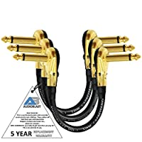 3単位–5Inch–audioblast hq-1–超柔軟な–デュアルシールド( 100% )–InstrumentエフェクトペダルパッチケーブルW /ロープロファイル、R / AゴールドPancake TS ( 6.35MM )プラグ&デュアルStaggeredブーツ