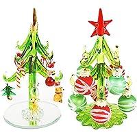 ガラス クリスマスツリー ボール&グリーン 12cm 2個セット