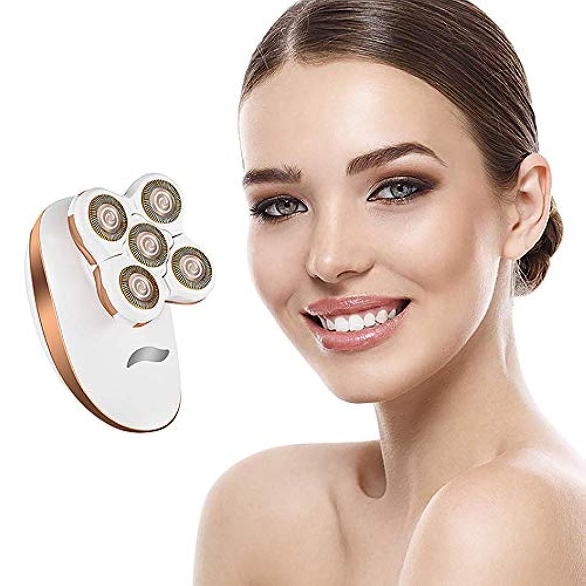 実験をする定義する割れ目女性用脱毛器、脱毛電動シェーバー充電式トリマーカミソリ、足用の5つのフローティングヘッド、顔、ビキニライン