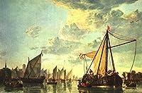 手書き-キャンバスの油絵 - 美術大学の先生直筆 - The Maas At Dordrecht シービューペインティング RSSP2 painter Aelbert Cuyp 絵画 洋画 複製画 ウォールアートデコレーション -サイズ02