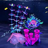 ZtohPyo 4 Pieces Glowing Fish Tank Decorations Plants with Simulation Silicone Coral, Artificial Horn Coral,Fluorescence Sea
