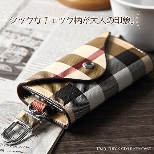 【Rapid Ship】 チェック柄 6連 キーケース カードポケット付き (ブラック)