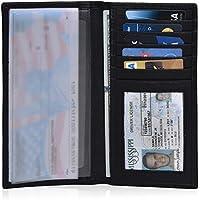 Leather Checkbook Cover Holder for Women - Standard Register Duplicate Checks RFID Card Slim Mens Wallet (Black Nappa)