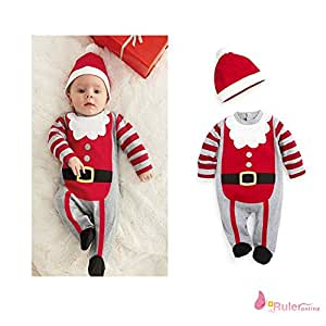 (ハニーブロッサム) HONEY BLOSSOM ベビー サンタ ロンパース 帽子 セット クリスマス 赤ちゃん コスチューム カバーオール パーティー イベント 可愛い ベビー服 衣装 赤 グレー 白 ボーダー 柄 (70)