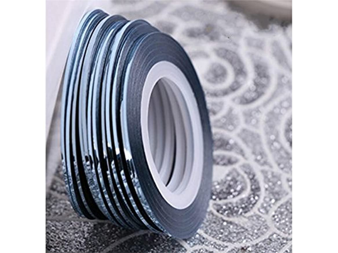 マカダム目的白菜Osize ネイルアートキラキラゴールドシルバーストリップラインリボンストライプ装飾ツールネイルステッカーストライピングテープラインネイルアートデコレーション(ライトブルー)