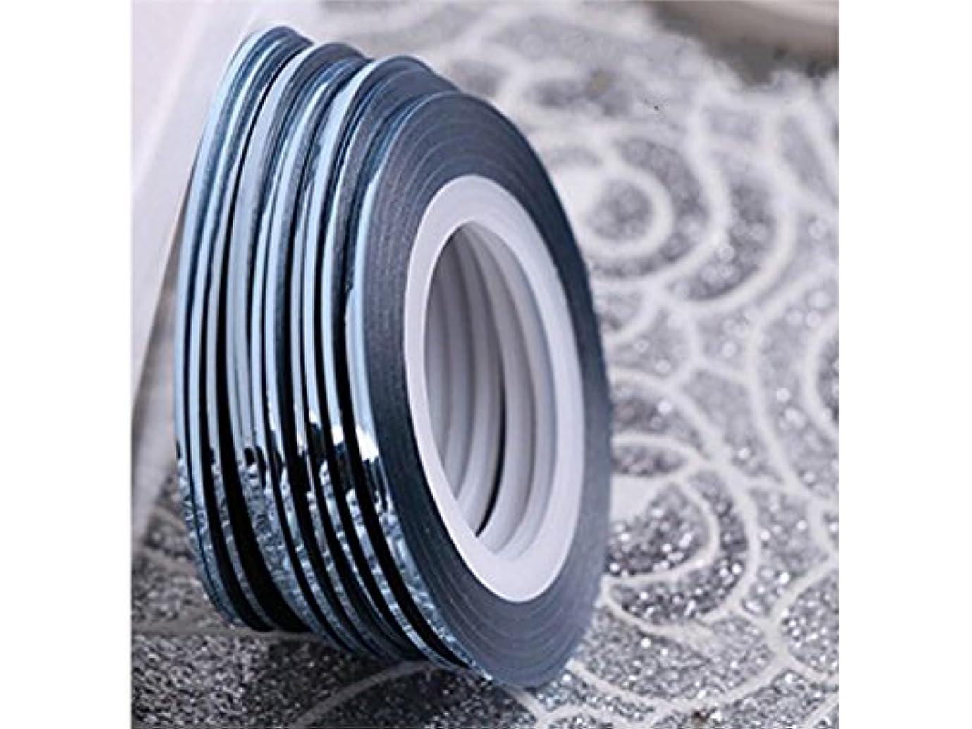 ストレッチフレッシュコンテストOsize ネイルアートキラキラゴールドシルバーストリップラインリボンストライプ装飾ツールネイルステッカーストライピングテープラインネイルアートデコレーション(ライトブルー)