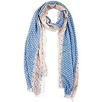BYLUNTA Women's Lightweight Fall Winter Fashion Scarf (White dot/Blue)